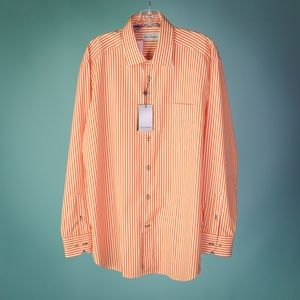 David Donahue Large Orange White Striped Shirt